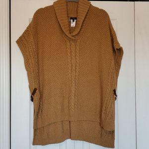 Talbots brown popover cable knit poncho size med.